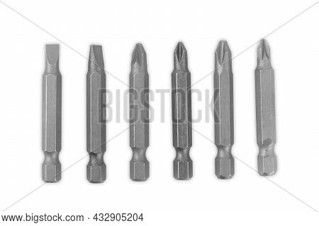 Drill Bits Of Different Sizes Isolated Over White Background