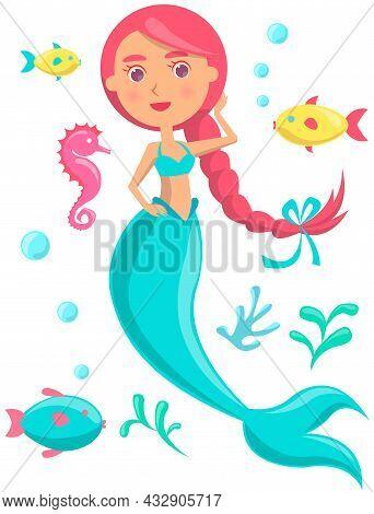 Underwater Life Of Mermaid, Blue Fish, Sea Horse, Coral And Seaweed In Ocean. Marine Fairytale Chara
