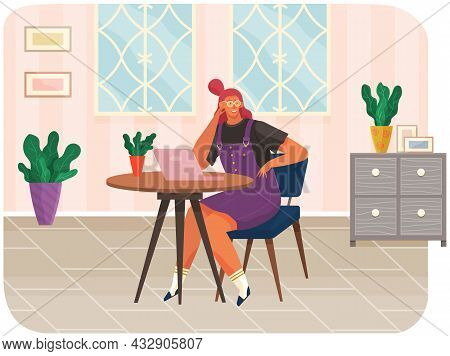 Office Woman At Desk With Tablet Pc. Businesswoman Or Clerk Working At Her Table, Student Studying R