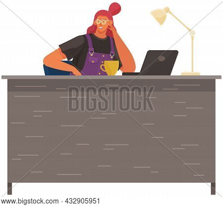Office Woman At Desk With Tablet Pc. Businesswoman Working At Her Table, Drinking Coffee During Brea