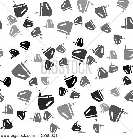Black Electric Jigsaw With Steel Sharp Blade Icon Isolated Seamless Pattern On White Background. Pow