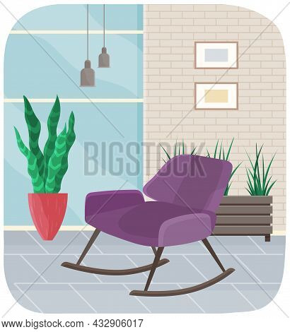 Living Room Furniture Design Concept Modern Home Interior Element. Retro Lilac Colored Armchair In H