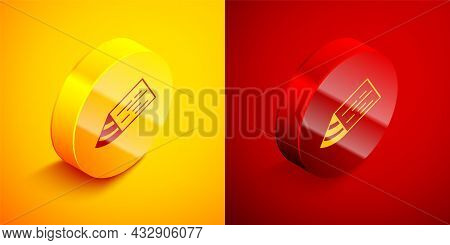 Isometric Wooden Beam Icon Isolated On Orange And Red Background. Lumber Beam Plank. Circle Button.