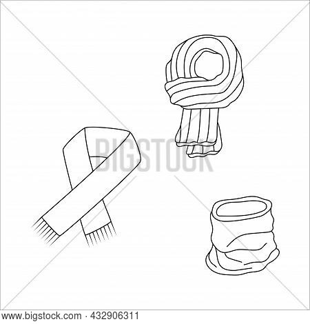 Doodle Set Scarf Design. Winter Vector Illustration Isolated On White Background.