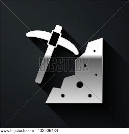 Silver Pickaxe Icon Isolated On Black Background. Long Shadow Style. Vector