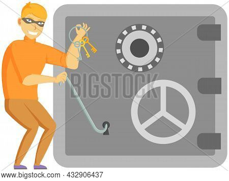 Thief Breaks Lock. Masked Robber Broke Down Keyhole. Falsifies Keys. Problem Of Urban Security. Cart