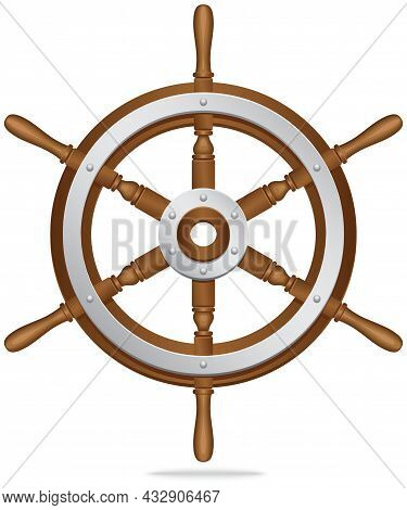 Sea Adventures And Tourism Object. Wooden And Metal Steering Wheel For Setting Right Direction Of Sh