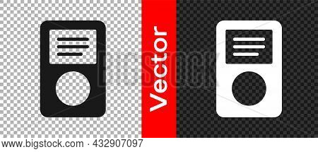 Black Music Player Icon Isolated On Transparent Background. Portable Music Device. Vector