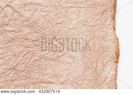 Japanese Abstract Paper Texture. Pink Beige Paper On White Background. Close Up.