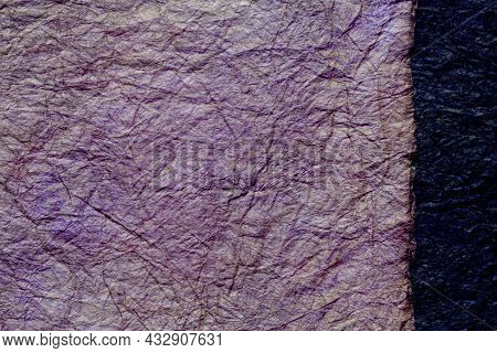 Japanese Abstract Paper Texture.2 Colors Of Dark Purple And Black. Close Up.