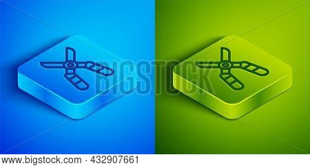 Isometric Line Gardening Handmade Scissors For Trimming Icon Isolated On Blue And Green Background.