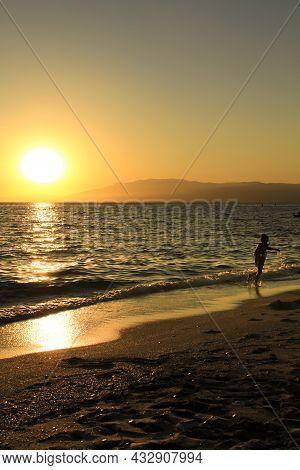 Sunset At The Salinas Beach In Cabo De Gata, Almeria, Spain
