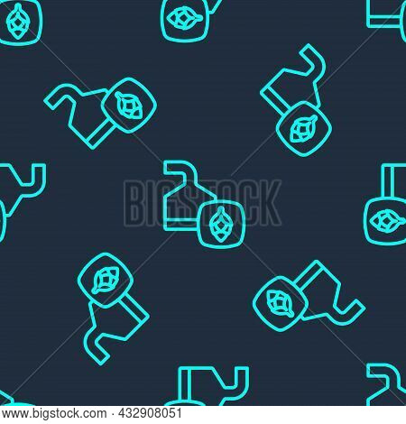 Green Line Traditional Brewing Vessels In Brewery Icon Isolated Seamless Pattern On Blue Background.
