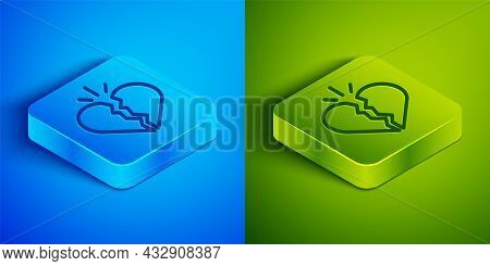 Isometric Line Broken Heart Or Divorce Icon Isolated On Blue And Green Background. Love Symbol. Vale