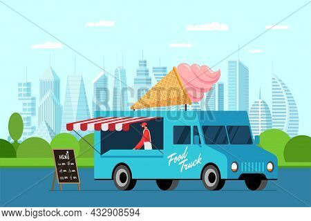 Fast Food Blue Truck With Cook Outdoor In City Park. Ice Cream In Waffle Cone On Van Roof. Plombir D