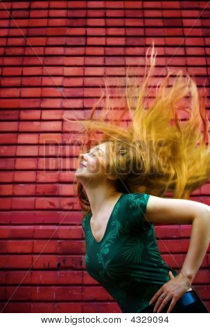 Energic Woman With Moving Hair