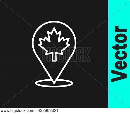 White Line Canadian Maple Leaf Icon Isolated On Black Background. Canada Symbol Maple Leaf. Vector