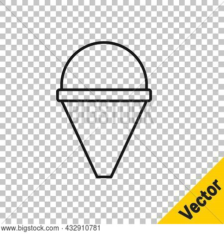Black Line Fire Cone Bucket Icon Isolated On Transparent Background. Metal Cone Bucket Empty Or With