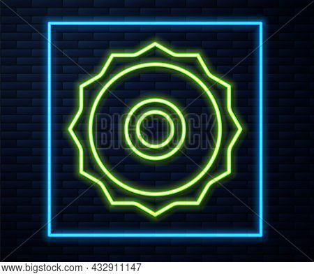 Glowing Neon Line Circular Saw Blade Icon Isolated On Brick Wall Background. Saw Wheel. Vector