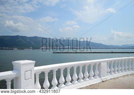 Railings On The Embankment, Sea And Beach Views From The Embankment, White Railings, Resort Town
