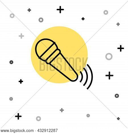 Black Line Wireless Microphone Icon Isolated On White Background. On Air Radio Mic Microphone. Speak