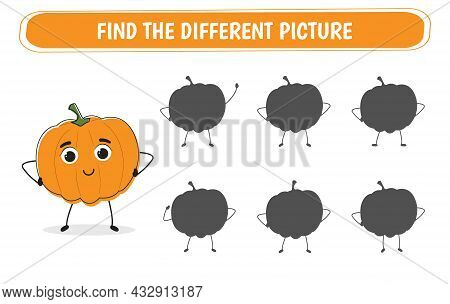 Educational Game Find The Correct Shadow. Mindfulness Game For Kids With Pumpkin. Vector Illustratio