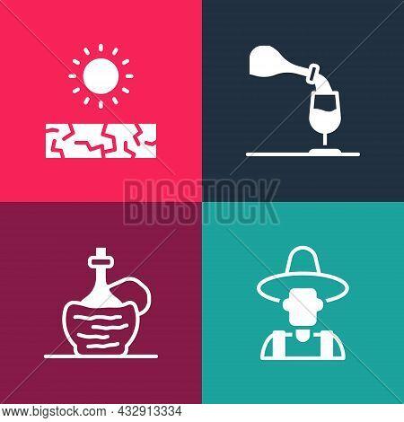 Set Pop Art Farmer In The Hat, Wine Italian Fiasco Bottle, Tasting, Degustation And Drought Icon. Ve