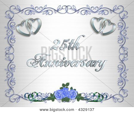 25Th Anniversary Blue Roses Invitation