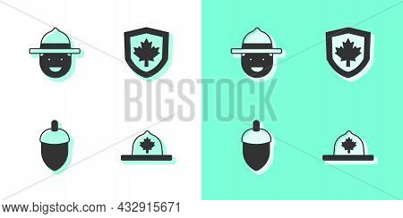 Set Canadian Ranger Hat, Acorn And Canada Flag On Shield Icon. Vector