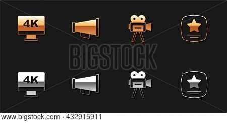 Set Screen Tv With 4k, Megaphone, Retro Cinema Camera And Walk Of Fame Star Icon. Vector