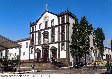 Funchal, Portugal - August 20, 2021: This Is The Building Of The Church Of The College Of Jesuits (1