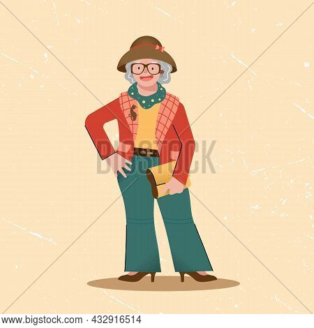 Cute Fashionable Elegant Funny Grandmother With A Hat And A Clutch In Her Hands. Funny Character In