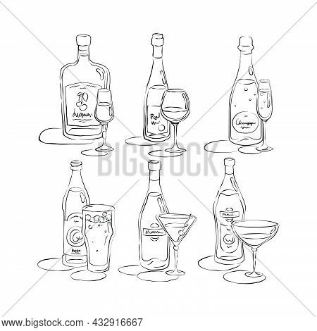 Bottle And Glass Tequila, Wine, Champagne, Beer, Martini, Vermouth Together In Hand Drawn Style. Bev