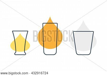 Three Glasses With Tequila, Rum And Vodka. Shot Glass Drinks. Template Alcohol Beverage For Restaura