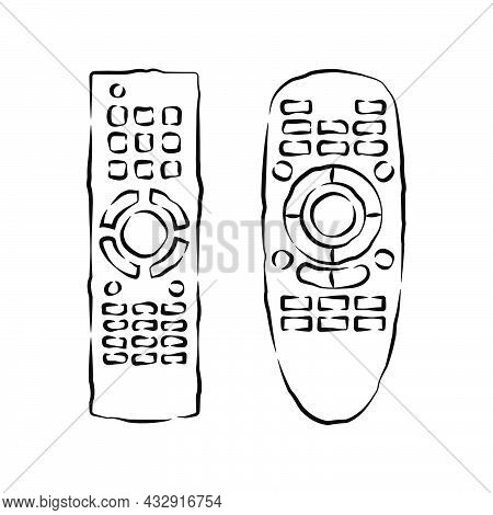 Hand Remote Control. Multimedia Panel With Shift Buttons. Two Types Device. Wireless Console. Sketch
