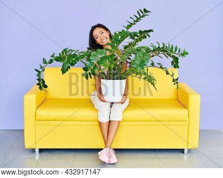 Young Smiling Woman Sitting On Sofa Holding Huge Plant In Pot