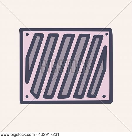 Iron Ventilation Grill Color Vector Doodle Simple Icon