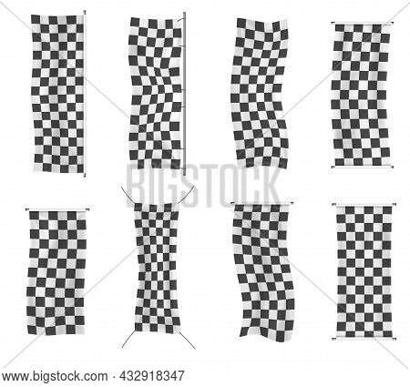 Set Of Checkered Racing Waving Banners, Flag.