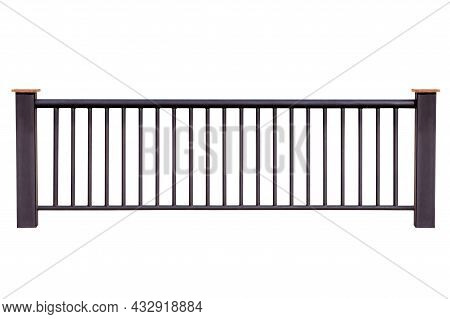 Steel Railing Isolated On White Background, With Clipping Path.