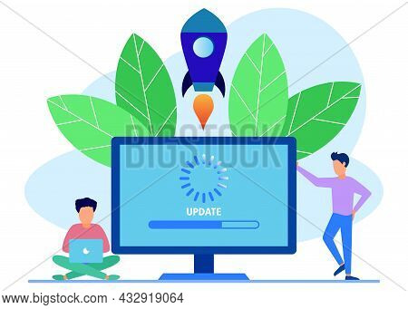 Modern Style Vector Illustration. Repair System Update Change New Version. Install Update Process Wi