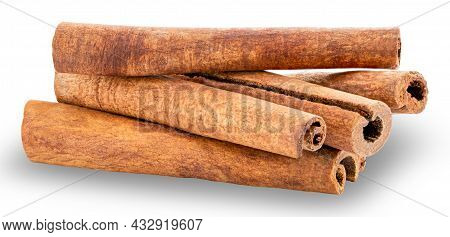 Cinnamon Sticks Isolated On White Background. Clipping Path.