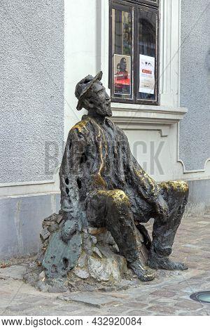 Belgrade, Serbia - August 03, 2021: Bronze Statue Of Famous Poet Djura Jaksic In Skadarlija Street.