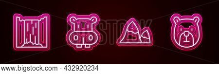 Set Line Waterfall, Hippo Or Hippopotamus, Mountains And Bear Head. Glowing Neon Icon. Vector