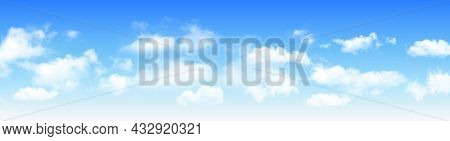 Sunny day background panorama, blue sky with white cumulus clouds, natural summer or spring background with perfect hot day weather illustration.