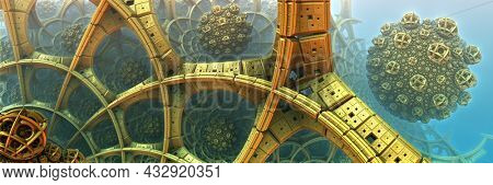 Golden construction and structures, abstract fantastic shapes of ancient civilization architecture 3D structures, fictional sci fi background, 3D render illustration.