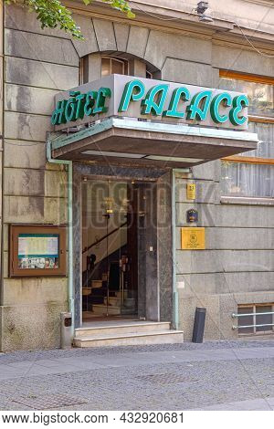 Belgrade, Serbia - August 08, 2021: Entrance To Old Palace Hotel In City Centre Belgrade.