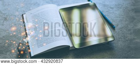 Blank Screen Tablet And Text Book With Light Bulb. Idea Of E-learning Or Online Course Of Studying F