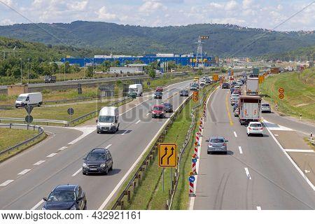 Belgrade, Serbia - August 06, 2021: Road Works At Main Highway Corridor Near Ikea In Serbia.