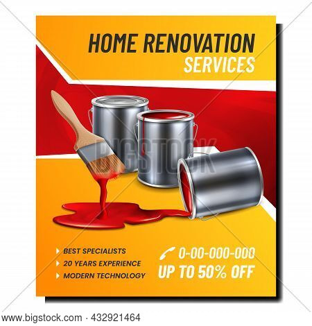 Home Renovation Services Promotional Banner Vector. Home Renovation Business For Painting, Brush Wit