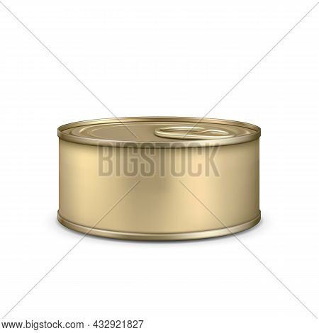 Blank Metallic Bottle For Canned Meat Pate Vector. Preserved Food Aluminum Golden Metal Tin Can Bott